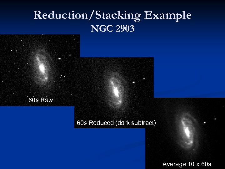 Reduction/Stacking Example NGC 2903 60 s Raw 60 s Reduced (dark subtract) Average 10