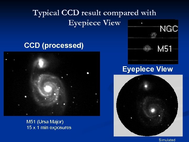 Typical CCD result compared with Eyepiece View CCD (processed) Notebook Drawing, 1997 Eyepiece View