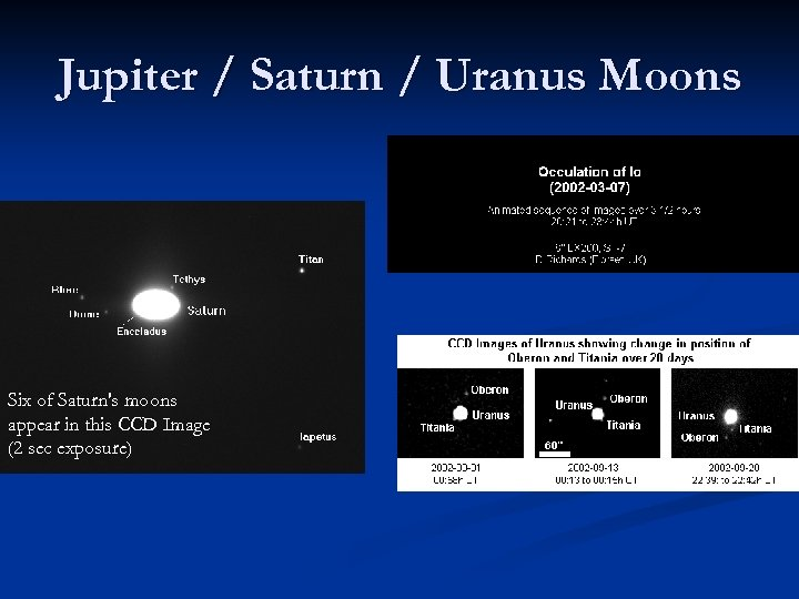 Jupiter / Saturn / Uranus Moons Six of Saturn's moons appear in this CCD