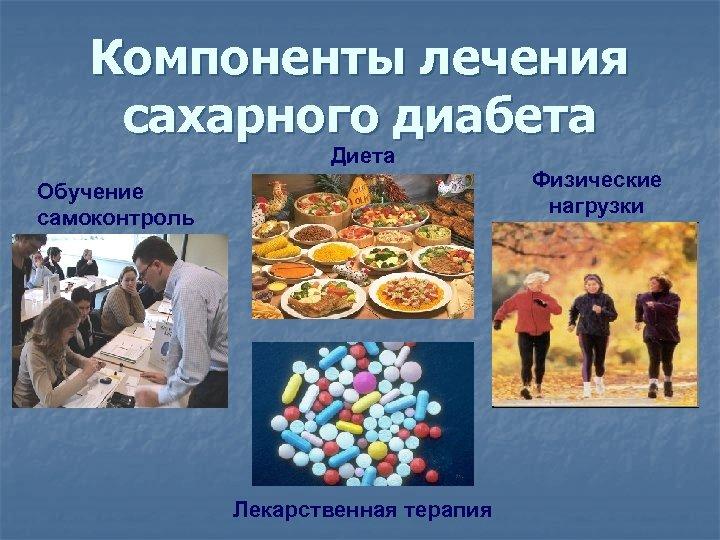 Компоненты лечения сахарного диабета Диета Обучение самоконтроль Лекарственная терапия Физические нагрузки