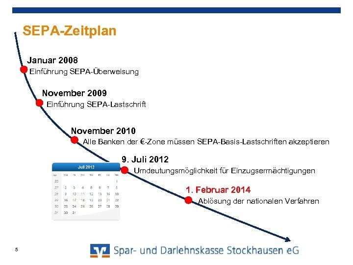 SEPA-Zeitplan Januar 2008 Einführung SEPA-Überweisung November 2009 Einführung SEPA-Lastschrift November 2010 Alle Banken der
