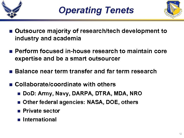 Operating Tenets n Outsource majority of research/tech development to industry and academia n Perform