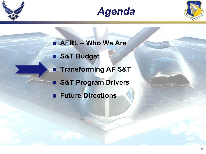 Agenda n AFRL – Who We Are n S&T Budget n Transforming AF S&T