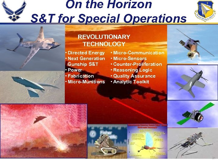 On the Horizon S&T for Special Operations REVOLUTIONARY TECHNOLOGY • Directed Energy • Next