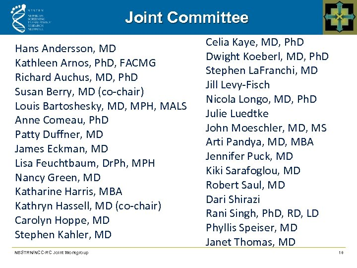Joint Committee Hans Andersson, MD Kathleen Arnos, Ph. D, FACMG Richard Auchus, MD, Ph.