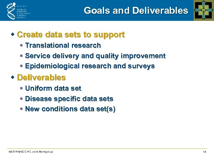 Goals and Deliverables w Create data sets to support § Translational research § Service