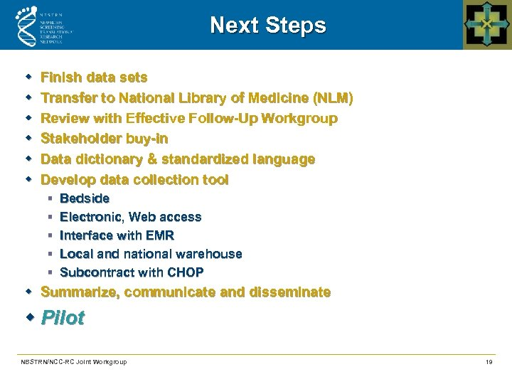 Next Steps w w w Finish data sets Transfer to National Library of Medicine