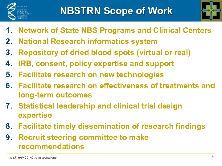 NBSTRN Scope of Work 1. 2. 3. 4. 5. 6. Network of State NBS