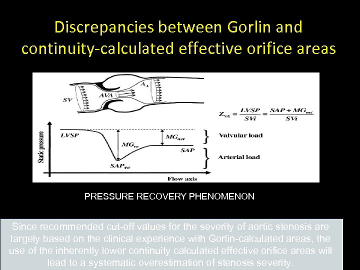 Discrepancies between Gorlin and continuity-calculated effective orifice areas PRESSURE RECOVERY PHENOMENON JACC 2006; 47: