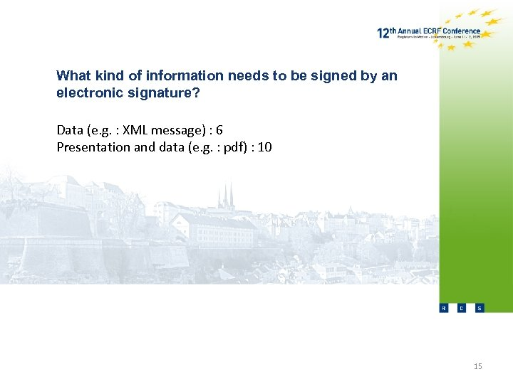 What kind of information needs to be signed by an electronic signature? Data (e.