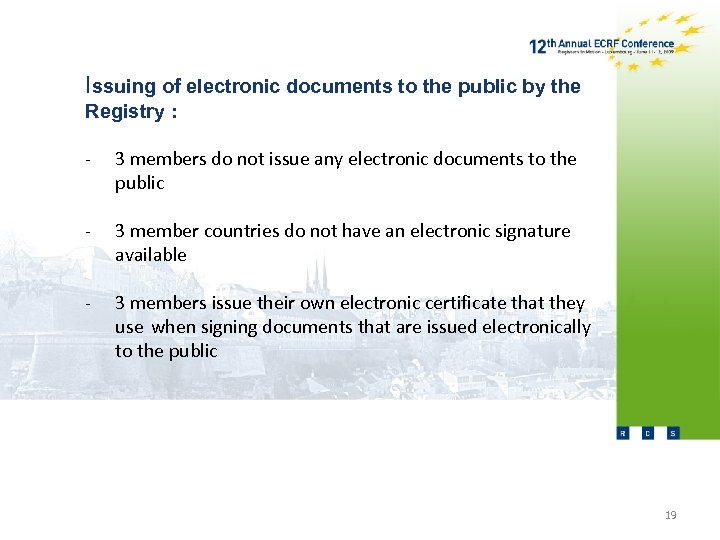 Issuing of electronic documents to the public by the Registry : - 3 members