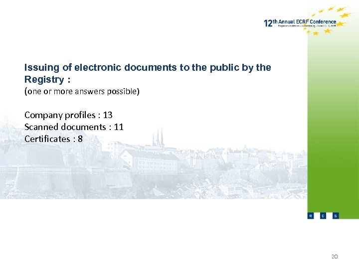 Issuing of electronic documents to the public by the Registry : (one or more