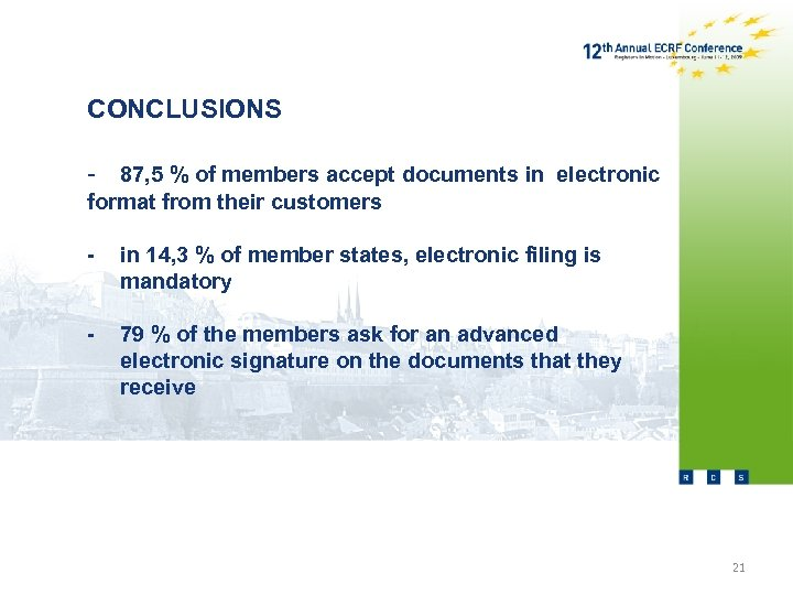 CONCLUSIONS - 87, 5 % of members accept documents in electronic format from their