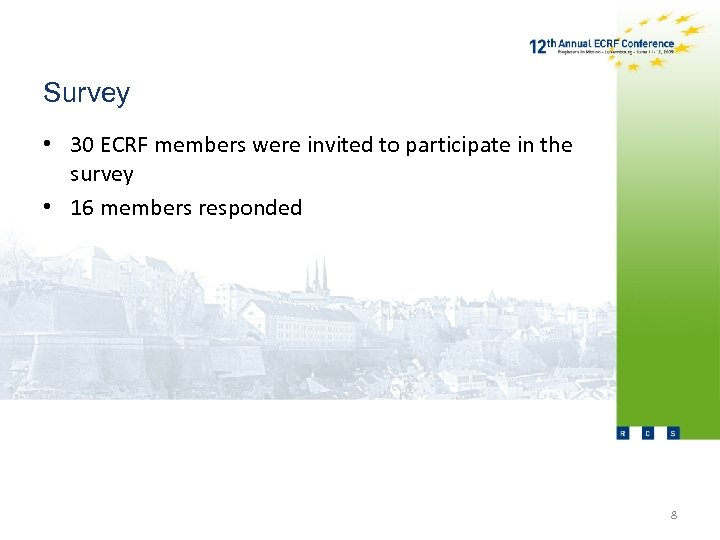 Survey • 30 ECRF members were invited to participate in the survey • 16
