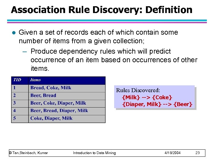 Association Rule Discovery: Definition l Given a set of records each of which contain