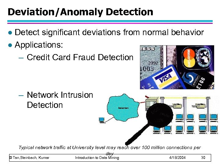 Deviation/Anomaly Detection Detect significant deviations from normal behavior l Applications: – Credit Card Fraud