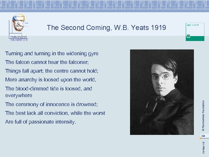 The Second Coming, W. B. Yeats 1919 Turning and turning in the widening gyre