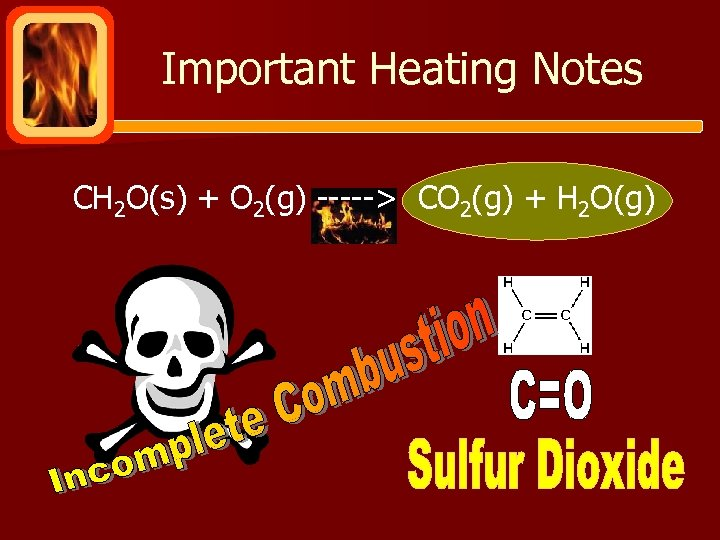 Important Heating Notes CH 2 O(s) + O 2(g) -----> CO 2(g) + H