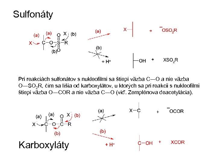 Sulfonáty Pri reakciách sulfonátov s nukleofilmi sa štiepi väzba C―O a nie väzba O―SO