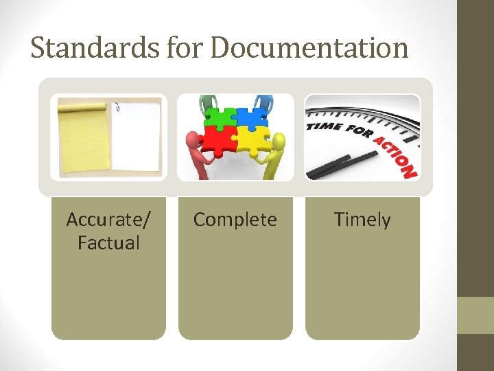 Standards for Documentation Accurate/ Factual Complete Timely