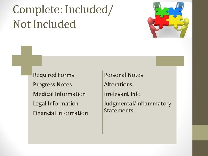 Complete: Included/ Not Included Required Forms Progress Notes Medical Information Legal Information Financial Information