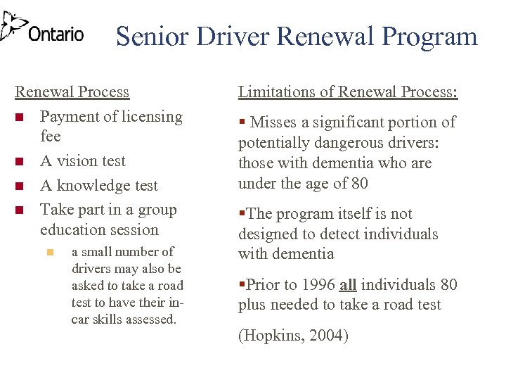 Senior Driver Renewal Program Renewal Process n Payment of licensing fee n A vision