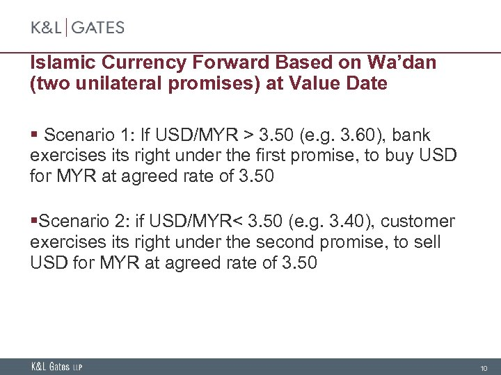 Islamic Currency Forward Based on Wa'dan (two unilateral promises) at Value Date § Scenario