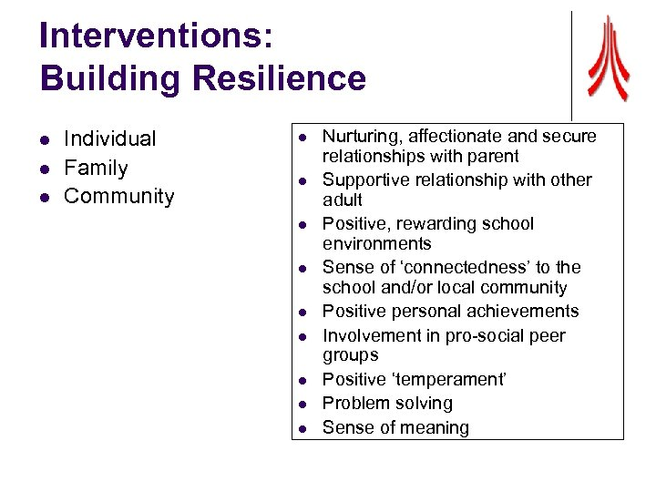 Interventions: Building Resilience l l l Individual Family Community l l l l l