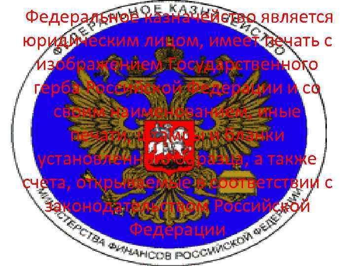 Федеральное казначейство является юридическим лицом, имеет печать с изображением Государственного герба Российской Федерации