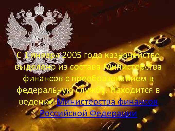 С 1 января 2005 года казначейство выделено из состава Министерства финансов с преобразованием в