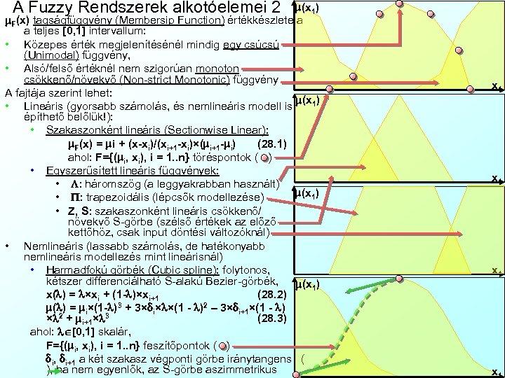 A Fuzzy Rendszerek alkotóelemei 2 m(x 1) m. F(x) tagságfüggvény (Membersip Function) értékkészlete a