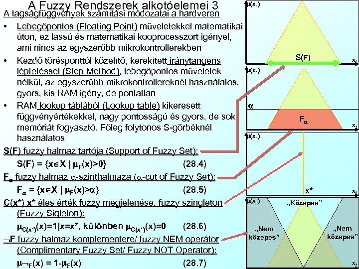 A Fuzzy Rendszerek alkotóelemei 3 m(x 1) A tagságfüggvények számítási módozatai a hardveren •