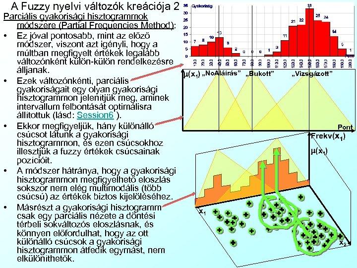 A Fuzzy nyelvi változók kreációja 2 Parciális gyakorisági hisztogrammok módszere (Partial Frequencies Method): •
