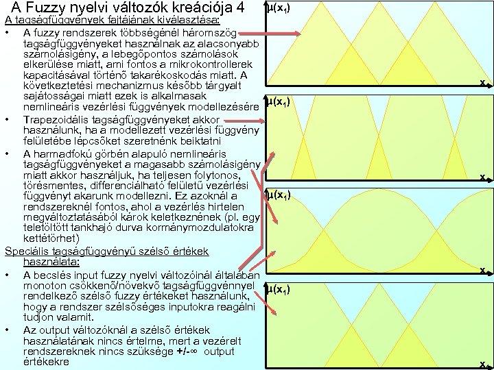 A Fuzzy nyelvi változók kreációja 4 m(x 1) A tagságfüggvények fajtájának kiválasztása: • A