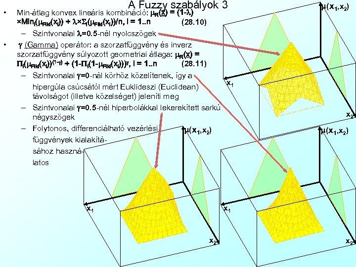 • • A Fuzzy szabályok 3 Min-átlag konvex lineáris kombináció: m. R(x) =