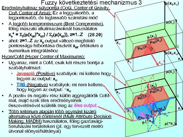 Fuzzy következtetési mechanizmus 3 Eredményhalmaz súlypontja (Co. G, Center of Gravity, Co. A Center