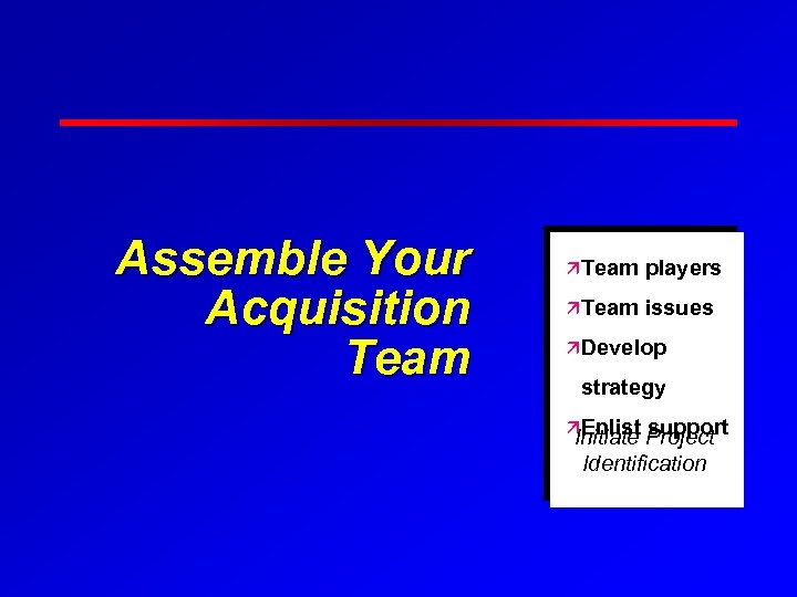 Assemble Your Acquisition Team äTeam players äTeam issues äDevelop strategy äEnlist support Initiate Project
