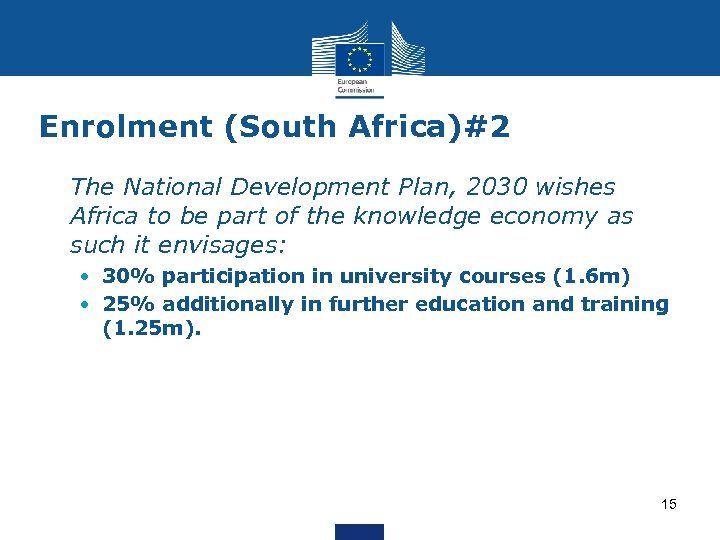 Enrolment (South Africa)#2 • The National Development Plan, 2030 wishes Africa to be part
