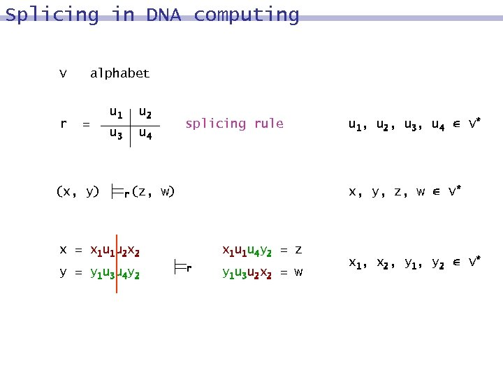 Splicing in DNA computing V r alphabet = (x, y) u 1 u 2