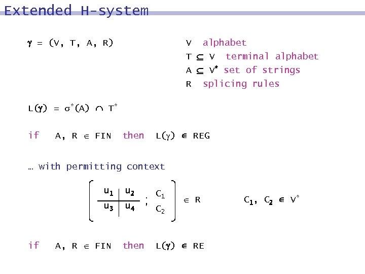 Extended H-system = (V, T, A, R) V alphabet T V terminal alphabet A