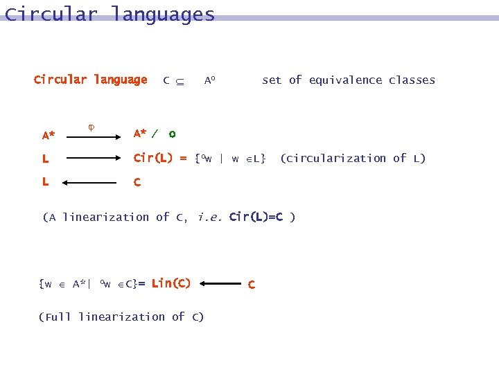Circular languages Circular language A* A* C Ao set of equivalence classes o L
