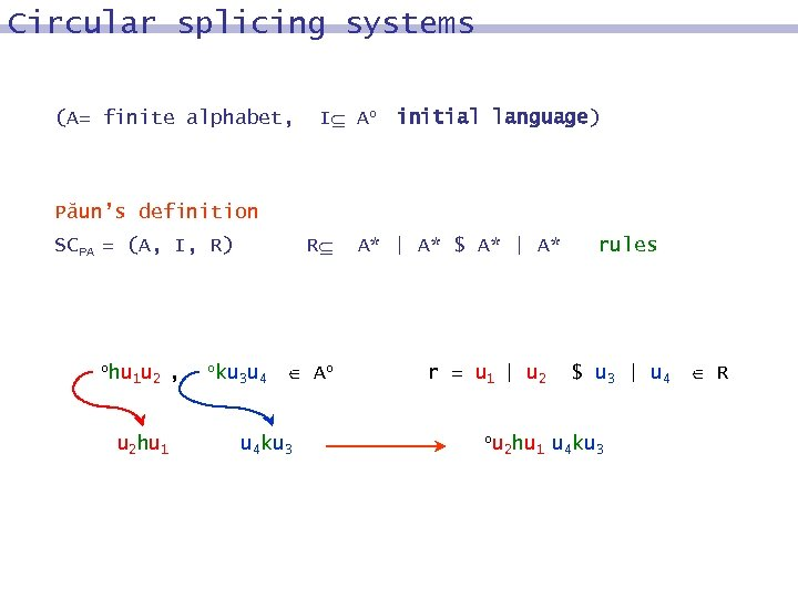 Circular splicing systems (A= finite alphabet, I Ao initial language) Păun's definition SCPA =