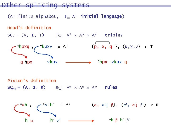 Other splicing systems I Ao initial language) (A= finite alphabet, Head's definition SCH =