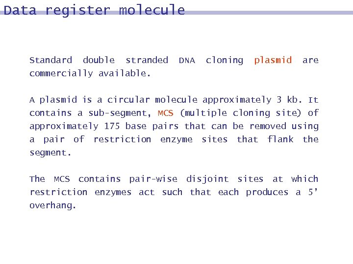 Data register molecule Standard double stranded commercially available. DNA cloning plasmid are A plasmid