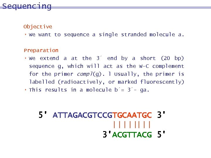 Sequencing Objective 8 We want to sequence a single stranded molecule a. Preparation 8