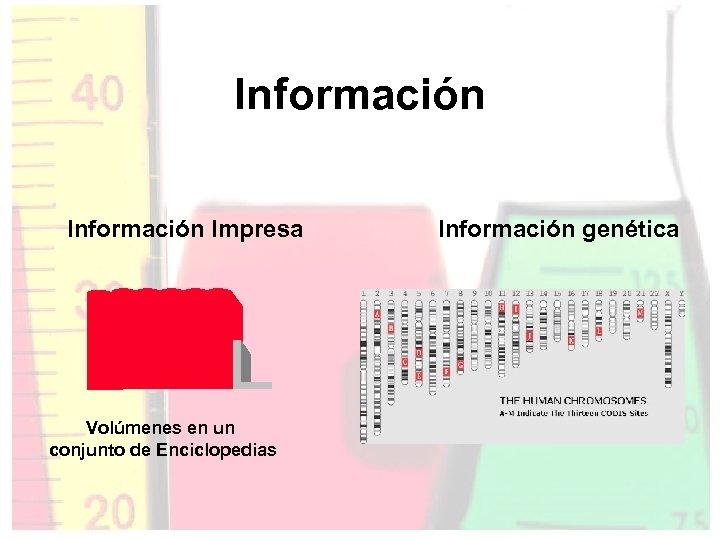 Información Impresa Volúmenes en un conjunto de Enciclopedias Información genética