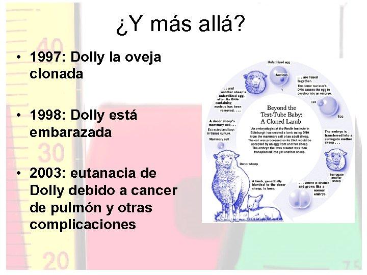 ¿Y más allá? • 1997: Dolly la oveja clonada • 1998: Dolly está embarazada