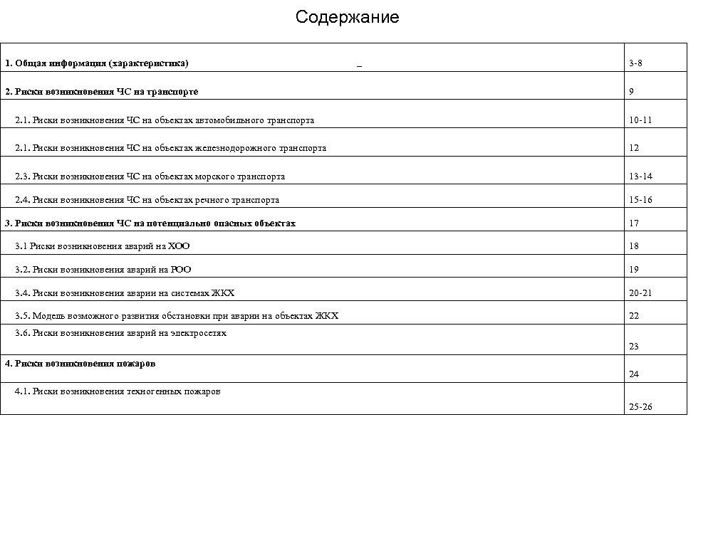 Содержание 1. Общая информация (характеристика) Содержание 3 -8 2. Риски возникновения ЧС на транспорте