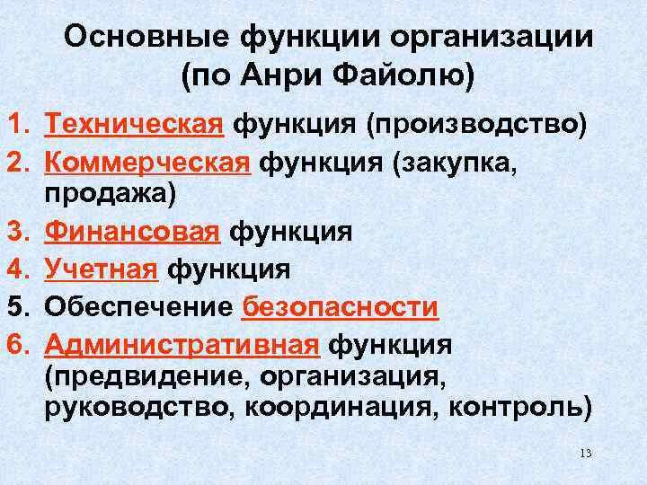Основные функции организации (по Анри Файолю) 1. Техническая функция (производство) 2. Коммерческая функция (закупка,