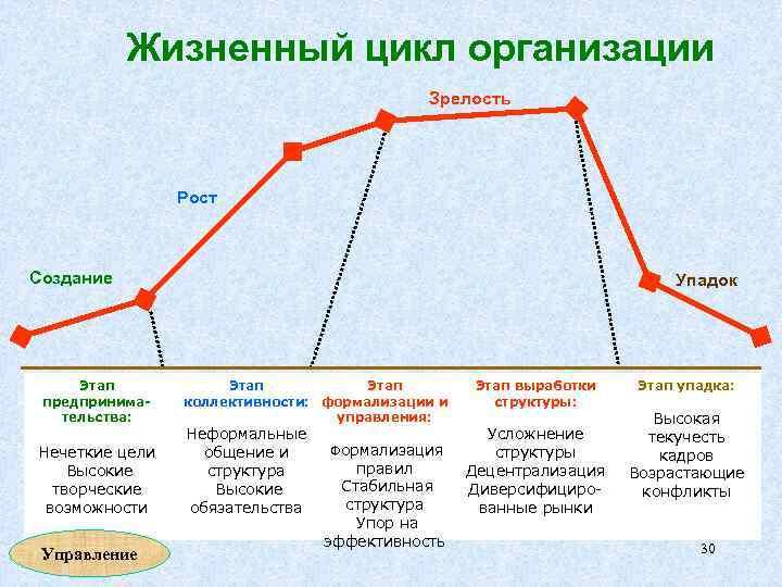Жизненный цикл организации Зрелость Рост Создание Этап предпринимательства: Нечеткие цели Высокие творческие возможности Управление